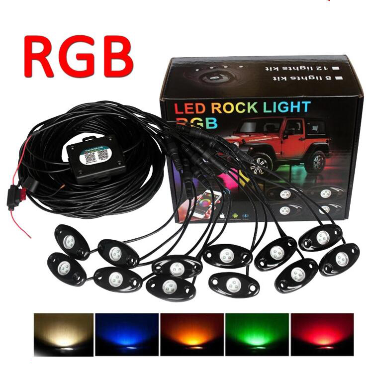4,6,8,12 Pods LED waterproof rock <strong>light</strong> RGB multicolor APP bluetooth control car underbody rgb led rock <strong>light</strong>