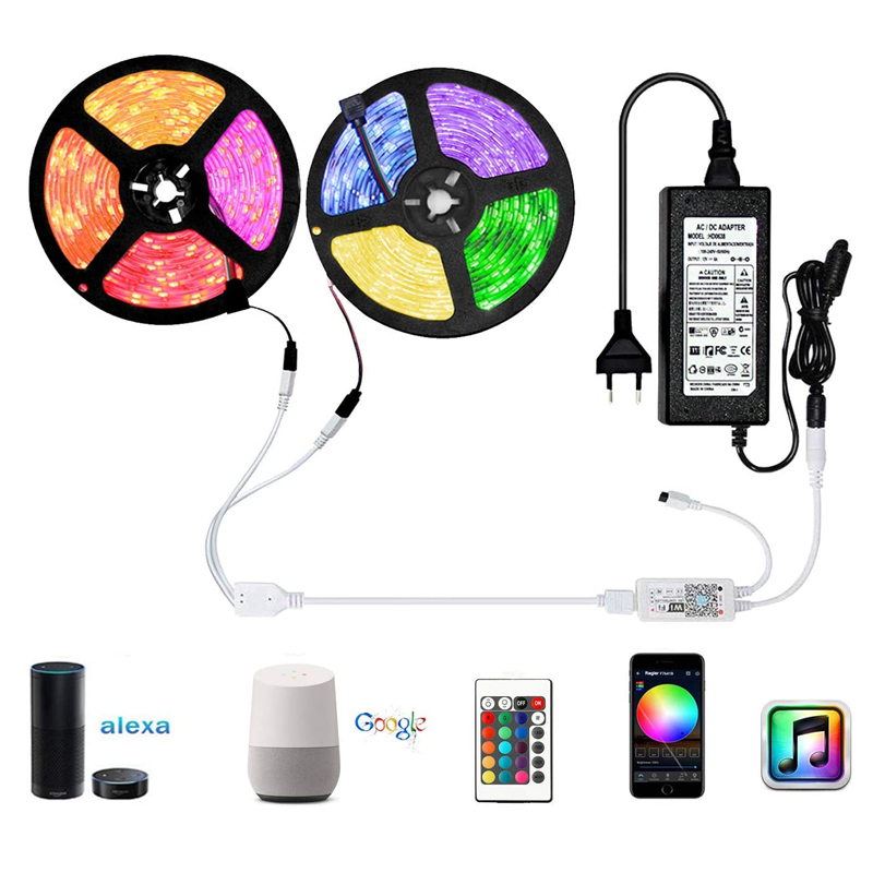 Music 32.8 FT Waterproof IP65 Smart WiFi Home Intelligent Remote Control 5050 <strong>RGB</strong> Wifi Smart10m Led Strip Light Alexa
