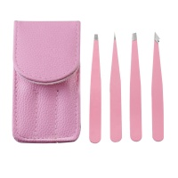 Wholesale 4pcs Pink Color Precision Eyebrow Tweezers Set
