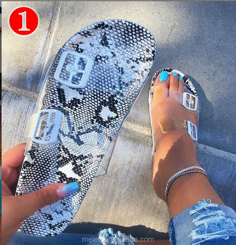 Woman Snake Slippers Pin Buckle Sandals Transparent Belt Female flat Bottom flip flops Outdoor Shoes women's Beach Sandals