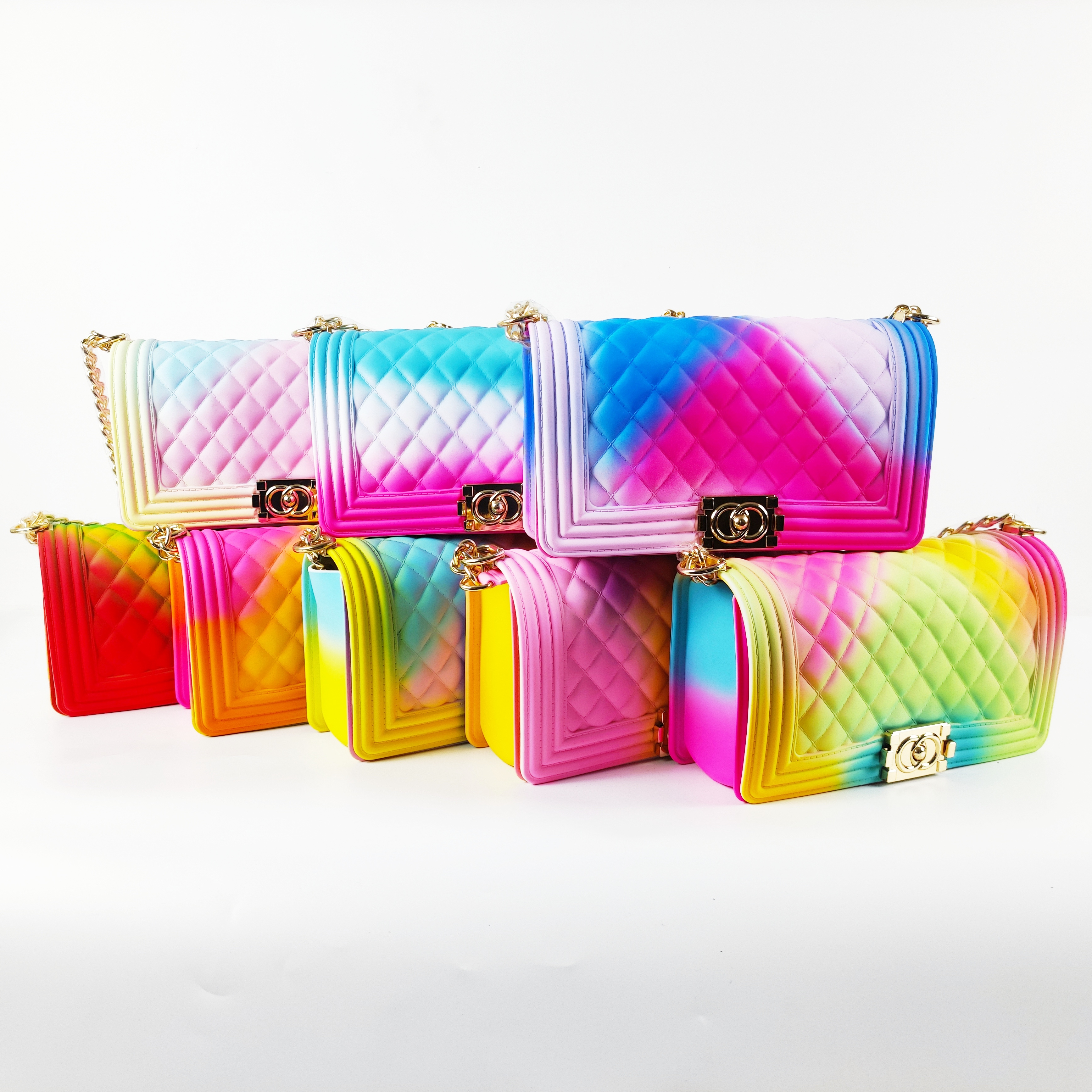 TS9021 Amazon hot sell beach fashion rainbow shoulder candy handbags summer colorful Jelly PVC bag jelly bags for women