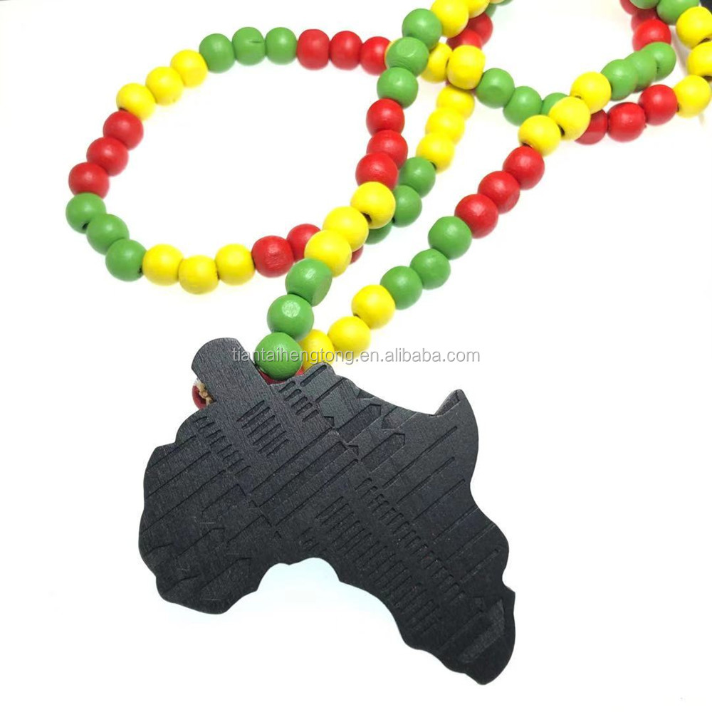 Africa Necklace Colorful Pendant Chain African Map Gift for Men Women Ethiopian Jewelry Trendy Accessories
