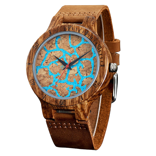 Low MOQ Luxury Men's Tide Blue Lava Flow Cool Boy Bamboo Watch with leather band