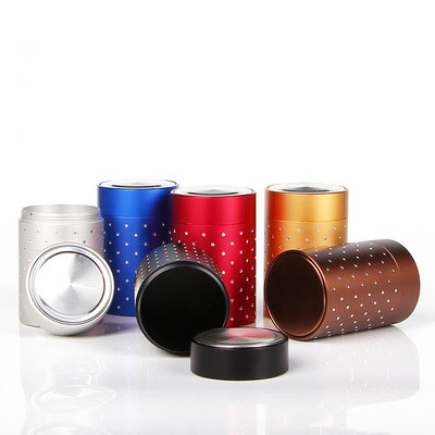 <strong>P103</strong> Small portable traveling tea tin box point drill small tea canister aluminum metal sealed tea can