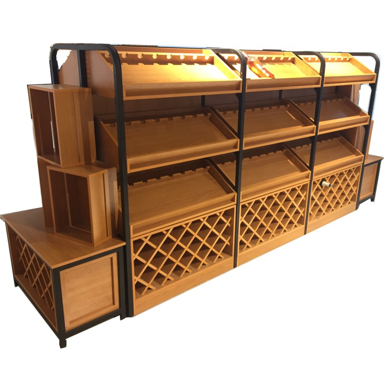 Wood And Steel Wine Bottle Stand Racks Display Shelf For Sale
