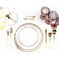 Modern american luxury white gold line restaurant dinnerware sets dining ware porcelain china tableware platters set