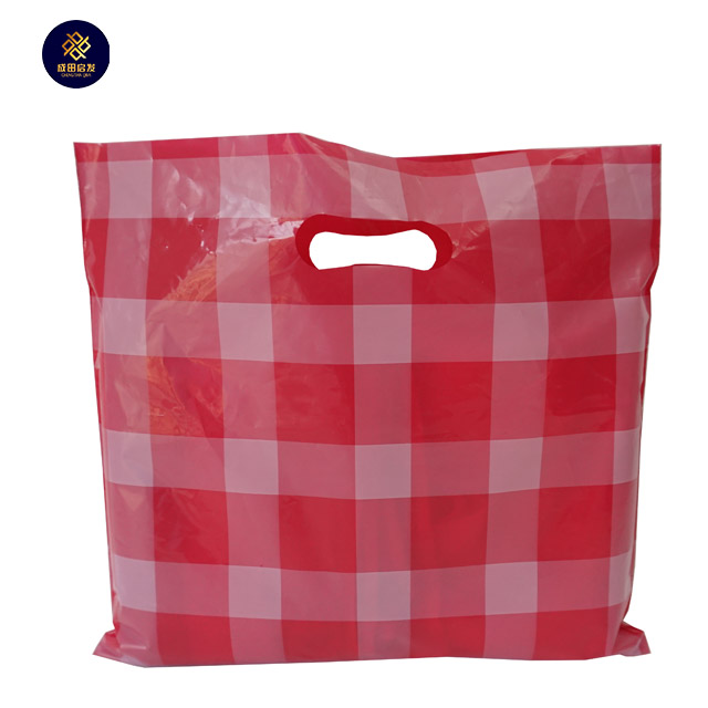 Wholesale Direct Manufacturer Red Square Designing Single Layer <strong>D</strong> Die Cut Plastic Gift Shopping Packaging Bags For Clothes Pack
