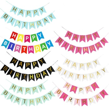 Wholesale Colorful Fishtail Paper Happy Birthday Letter Flag Banner