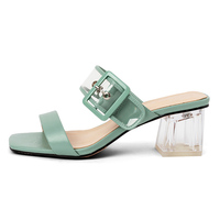 OEM ODM Fashion Leather Women Transparent Heel Chaussures Femmes Mules Shoes