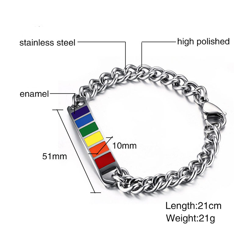 Fashion LGBT Jewelry Personalized Rainbow Colors Charm Stainless Steel Chain Bracelet Women Men