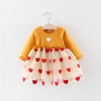 &Other Fairies Hot Style Korean Version Heart Pattern Gauze Dress Clothing Child Dress Baby Girl Cloth