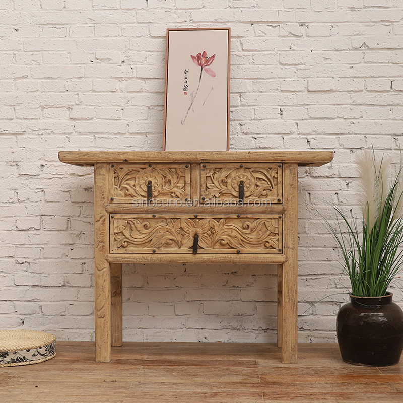 Asian Antique Style living room furniture rustic recycled wood natural table