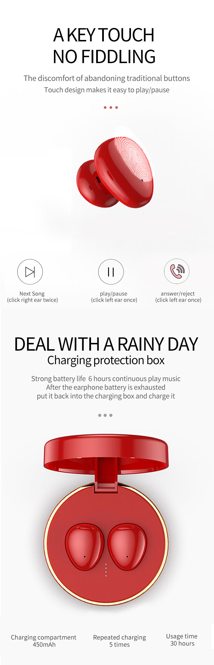 Made In China Stereo TWS Earphone 5.0 Wireless Earbuds With Charging Case Playtime
