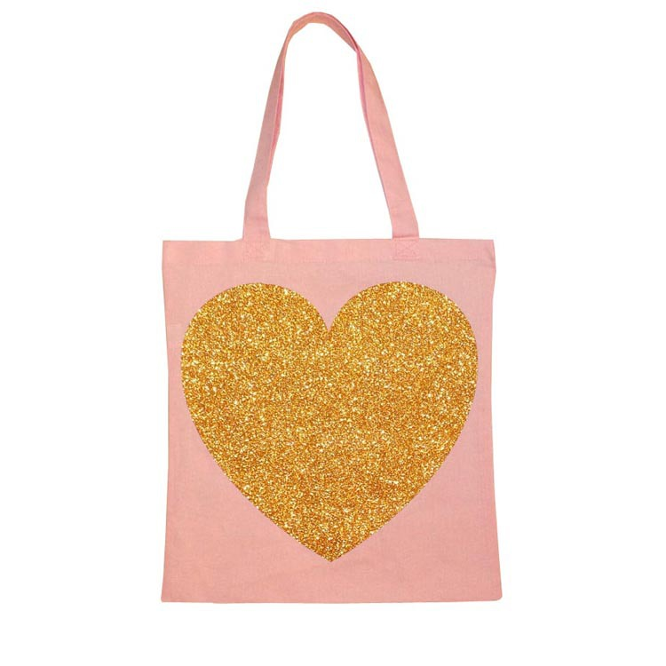 Custom Gold Glitter Sequin Ecological Organic Cotton Canvas Shopping Tote Bag
