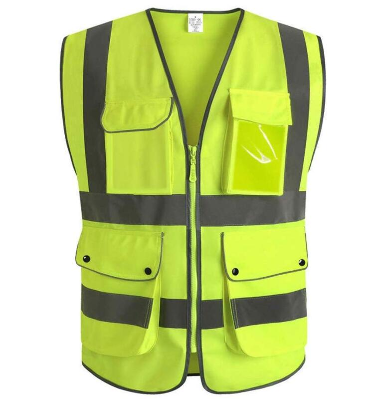 High Visibility Zipper Front Breathable <strong>Safety</strong> Vest with Reflective Strips Neon Color