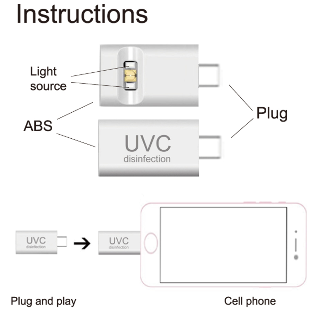 USB Disinfect Mini UVC Sterilizer Light Powered by Mobile Phone
