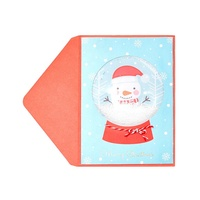 3D Handmade Gold Foil Red Cards, Christmas Global Snowman Holiday Funny Greeting Cards