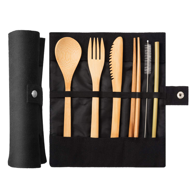 Portable ECO Friendly Reusable Bamboo Travel cutlery <strong>set</strong> with pouch