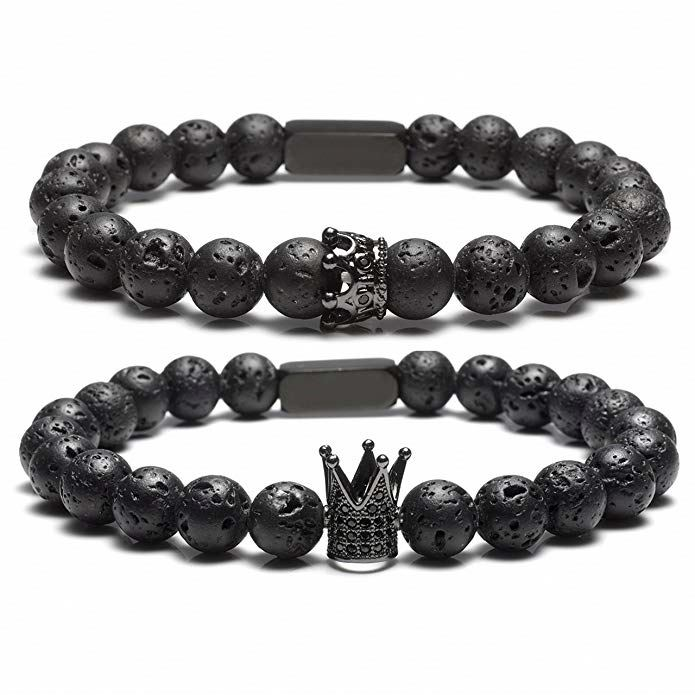 Lava Rock Partner Bracelets King And Queen 8 Mm Beads Buddha Bracelet With Rectangle Energy Therapy
