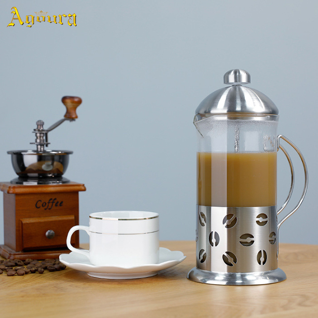 High heat resistant glass stainless steel tea maker press pot tea pot