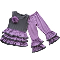 Wholesale kids clothing manufacturers overseas western girls baby purple layer skirt baby girl clothing sets new years outfits