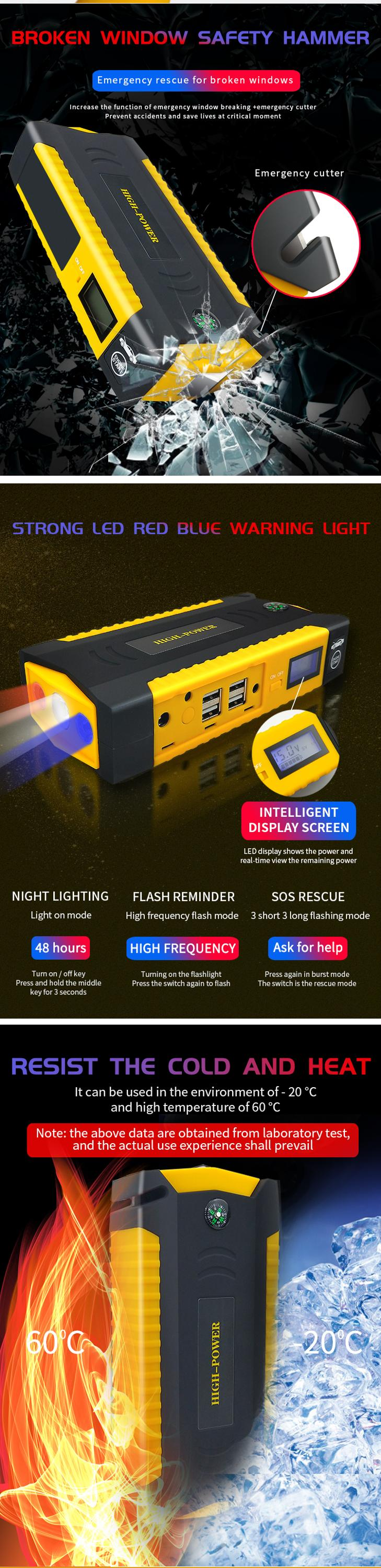 Wholesale Battery Start 12v 24v multi-function portable Automotive TM19B Car Power Bank Jump Starter with air compressor