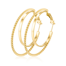 Fashion Gold Plated Double Round Rope Circle Stainless Steel Women Hoop <strong>Earrings</strong> For Women