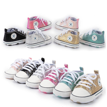 2020 New fashion Canvas flash Sequin upper breathable Anti-slip toddler baby casual shoes