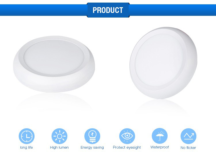 ce tuv 15w 20w 200mm surface mounted ip65 waterproof round led ceiling panel light