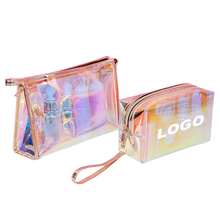 Low MOQ 100Pcs Custom Logo New Fashion Transparent Laser Cosmetic Pouch Luxury Custom Print Clear Holographic Makeup <strong>Bag</strong>