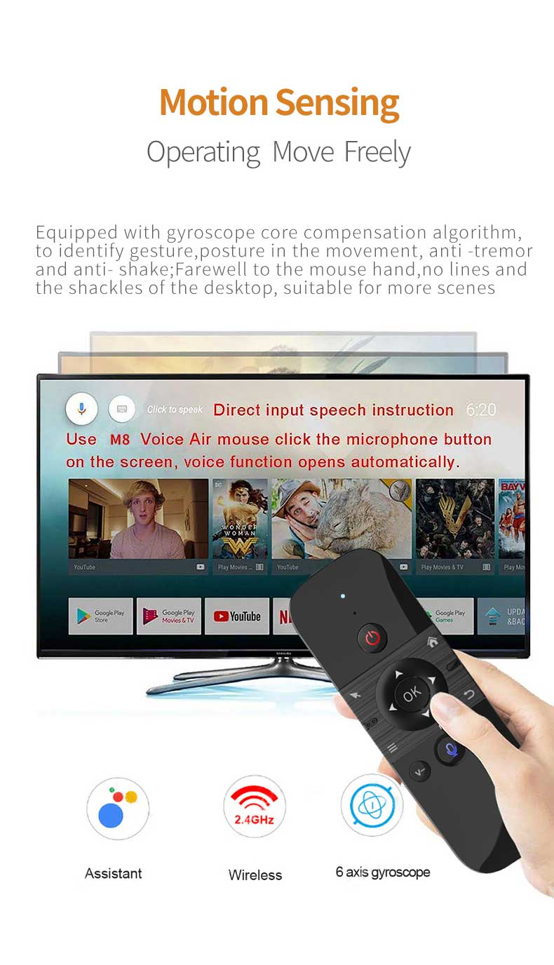 new design 2.4G Air fly Mouse remote M8 with voice input mini keyboard for Tv Box Smart TV Projector laptop PC multi platform