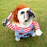 Chuckyy dog costume Amazon hot selling funny pet chucky dog clothes chuckyy doll Holding a Knife Halloween pet dog Costume