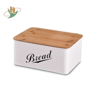 Custom White Bamboo Lid Fiber Bread Box Bin