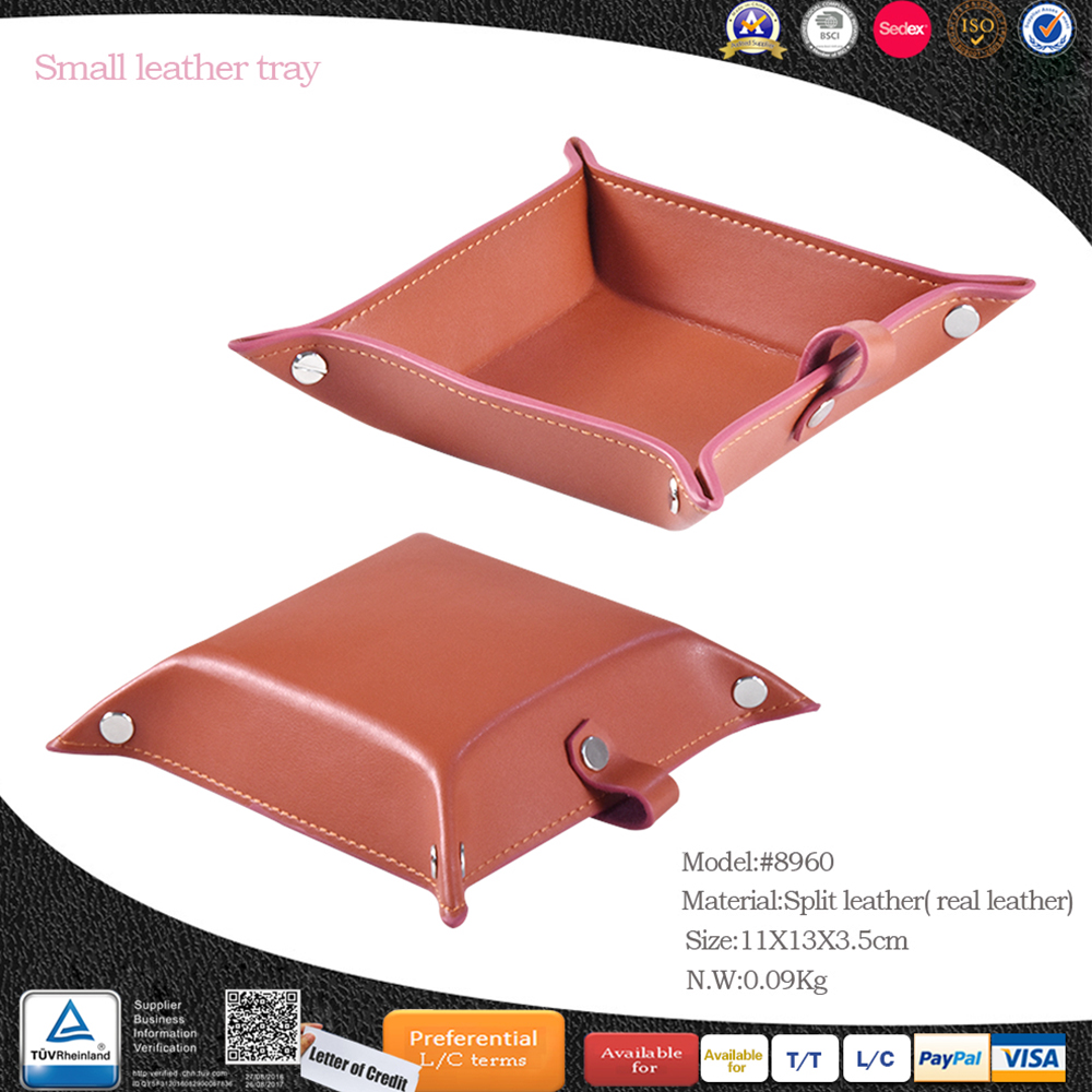 wholesale man high end leather snap valet tray