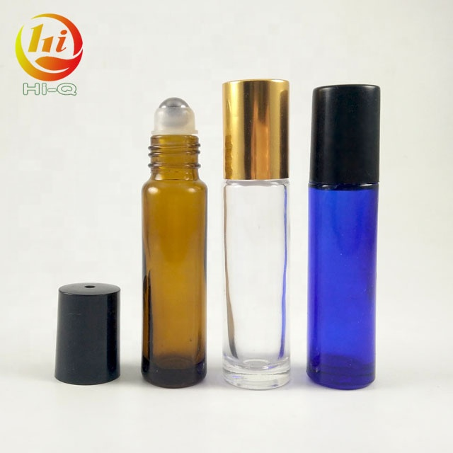 customize amber 10ml glass <strong>roll</strong> on bottles wholesale 10 ml blue clear Transparent Empty Roller Bottle