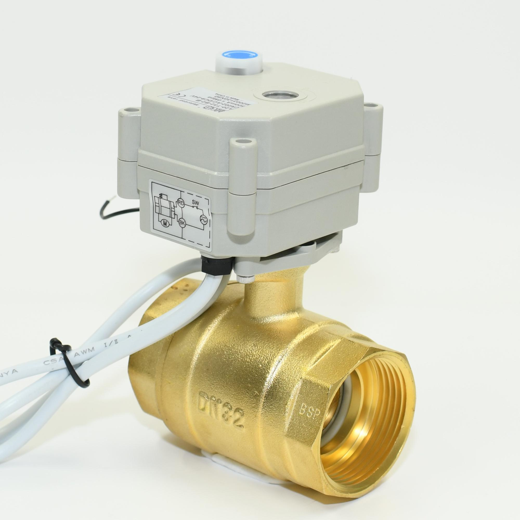"2 way DN32 electric brass valve 3 wires and 7 wires control 1.25"" motor valves with feedback signal"