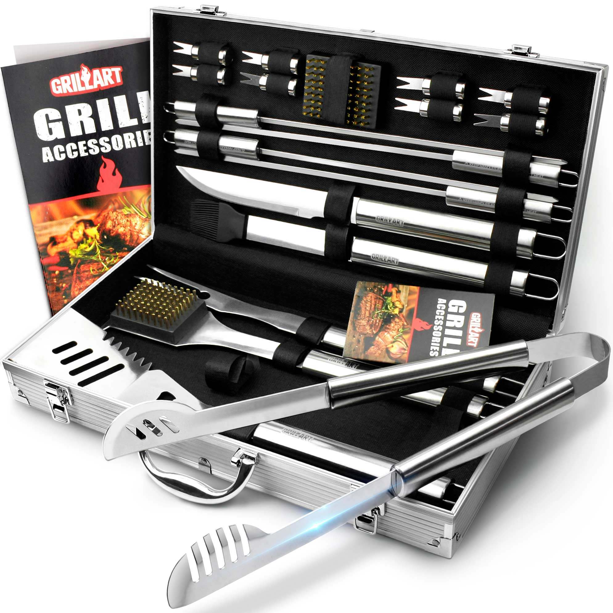 20pcs 16 inches stainless steel grill accessories set with aluminum case