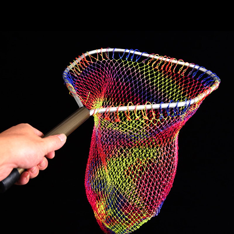 High Quality Flying Fishing Aluminum Alloy Landing Nets Colorful Nylon Fine Fishing Nets