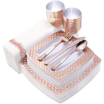 Rose Gold Plastic Dinnerware Diamond Plates Dinner Dessert Plates,Disposable Knives,Forks, Spoons,Cups And Napkins