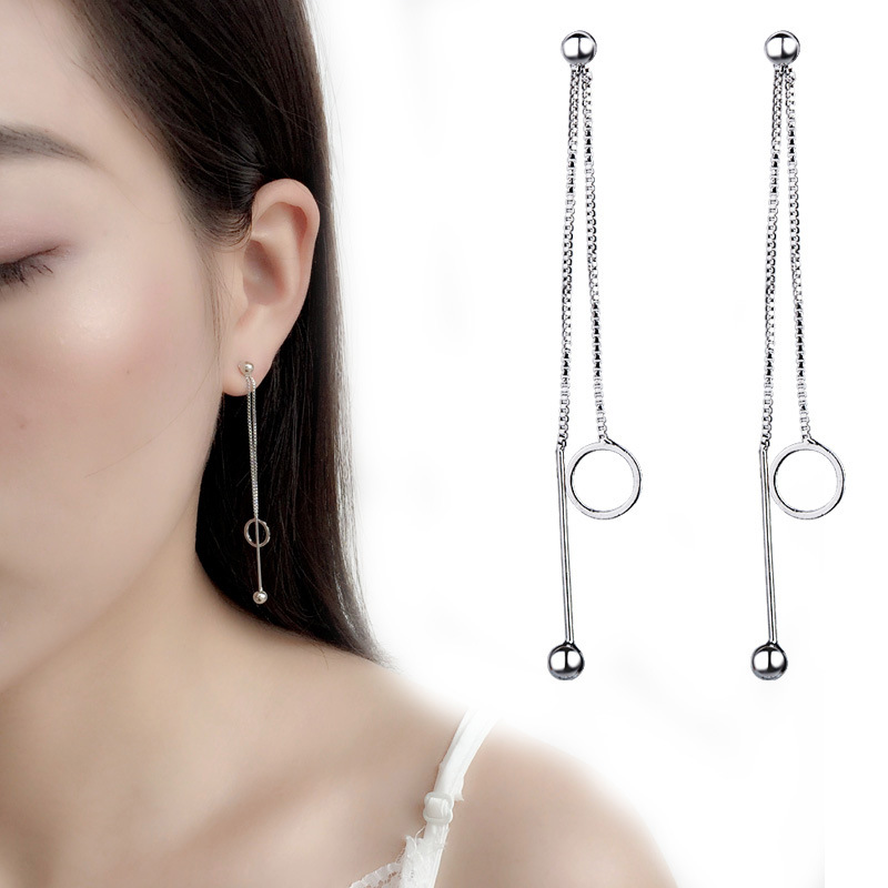 fashion silver long women earrings