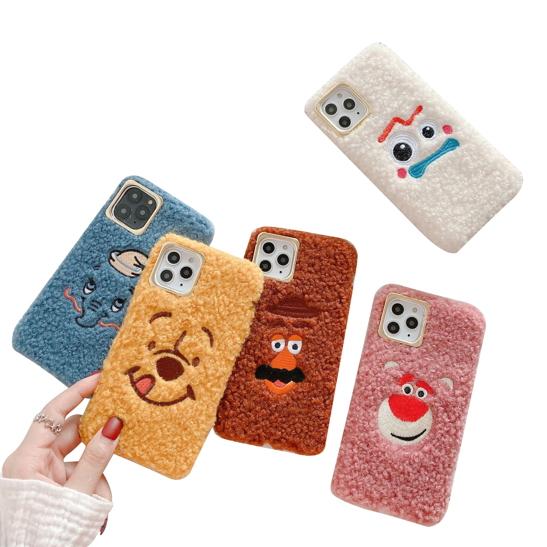 Phone cover Cartoon Toy story4 Fork Pooh Potato head cookie plush fluffy Soft Hairy phone case for iPhone xs/xs max/<strong>11</strong>/11pro max