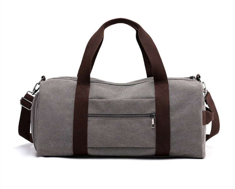 wholesale blank canvas striped barrel gym overnight weekend duffel bag