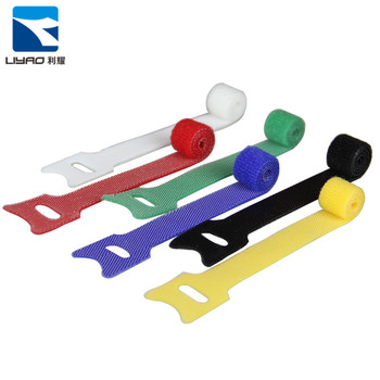 Colorful Flexible Automatic Double Side Reusable Carry Self Gripping Cinch Straps/ Hook Loop Cable Tie