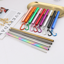 2019 Amazon Hot Sale Stainless Steel Telescopic Straw Metal Drinking Folding Straw Custom Logo With Case And Cleaning <strong>Brush</strong>
