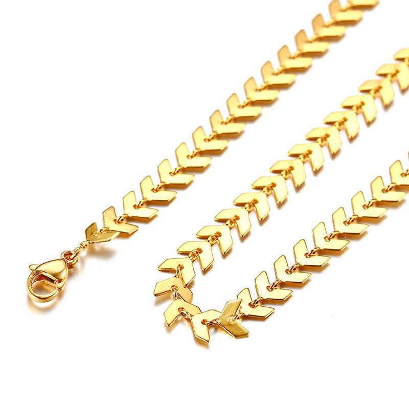 Fashion Fishbone Arrow Choker Necklace Titanium Steel 18k Gold Plated Clavicle Chain Dylam jewelry