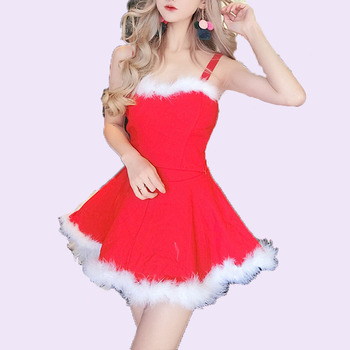 Manufacturing Wholesale Low Priec White Clothes Women Costume For Adult Sexy Red Christmas Uniform Suit Santa Claus Girl Dress