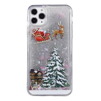 Christmas Style Moose And Christmas Tree Colorful Quicksand Soft TPU Phone Case For iPhone 11 pro 2019