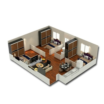 3 bedrooms prefabricated house floor plan