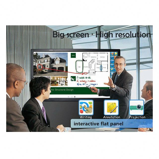 Education and Conference optional 65 Inch Touchable <strong>LCD</strong> Interactive Flat Panel 4K Monitor with Screenshare for IOS and Android
