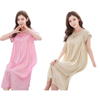 Solid Color Short Sleeved Sleeping Wear Maxi Dress Middle Aged Woman Nightdress For Summer
